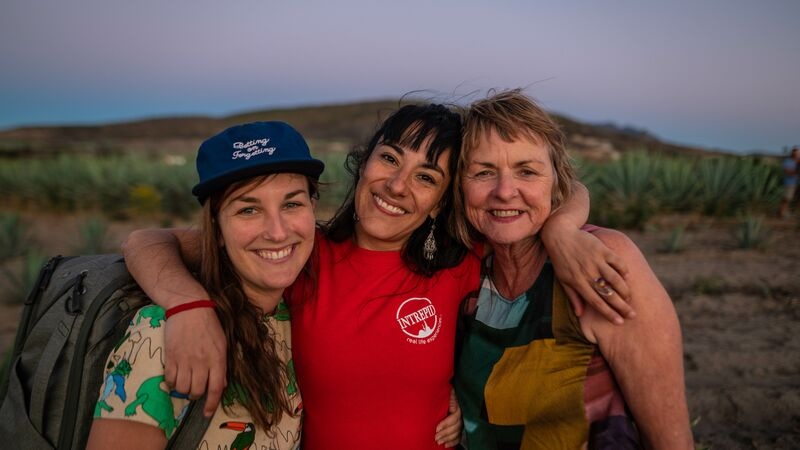 Three smiling women in Mexico