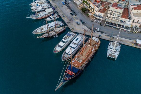 An aerial shot of ships docked in Poros