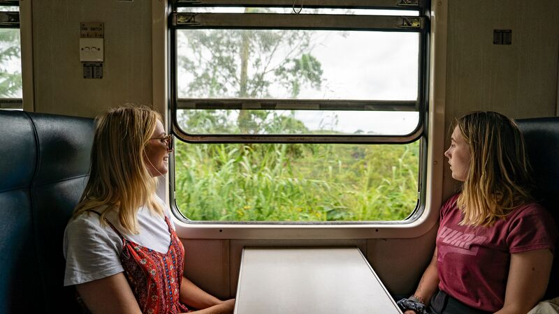 Two travellers looking out a window on a train