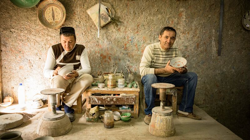 Two local potters in Uzbekistan