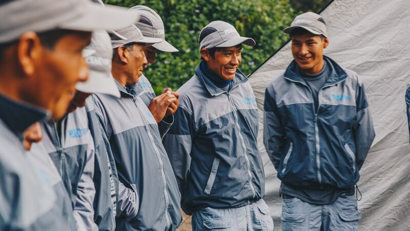Four porters chatting together