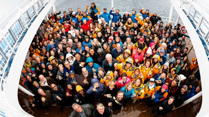 A mass group selfie on the boat in Antarctica