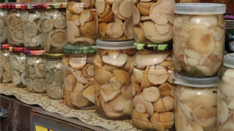 Jars of pickled mushrooms