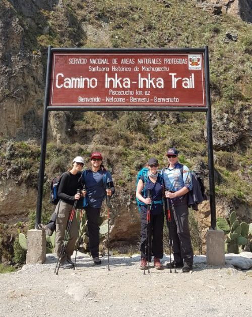 A group of travellers about to start the Inca Trail
