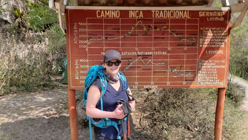 A traveller in front of a map of the Inca Trail