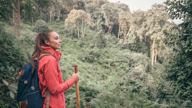 Female traveller stops for a rest in Bwindi