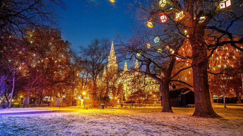 Vienna town hall park decorated with Christmas lights/