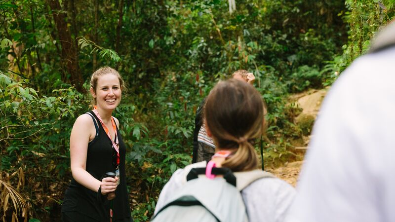 A smiling hiker on holiday in Borneo