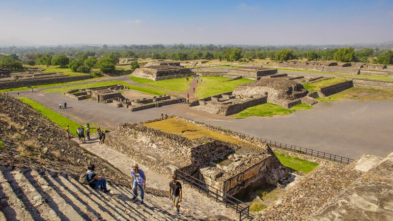 A view of Teotihuacan ruins from above