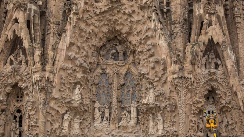 Detail of the Sagrada Familia in Barcelona