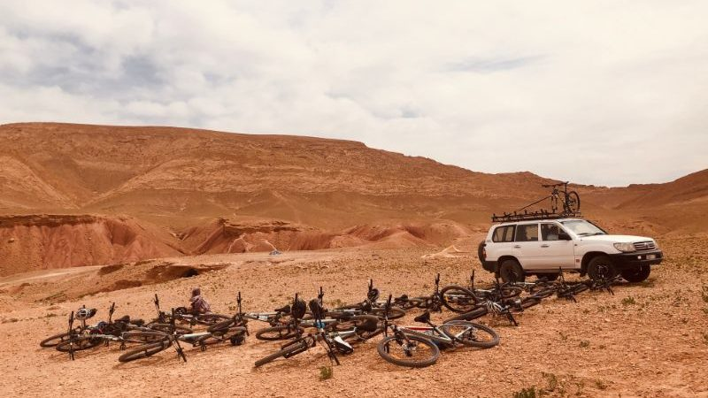 Lots of bicycles lying on the ground in Morocco