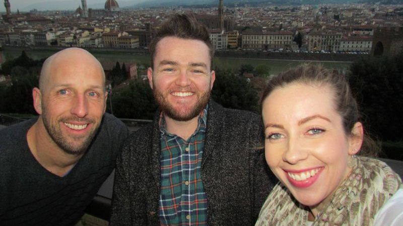 Three people taking a selfie in Florence