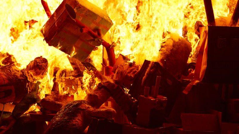 Burning papier mache decorations at Fallas in Valencia