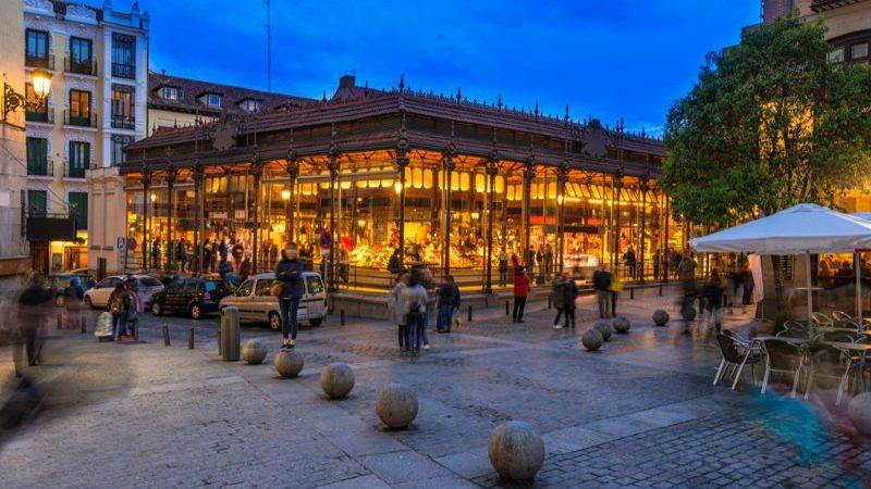 Madrid's Central Market at night.