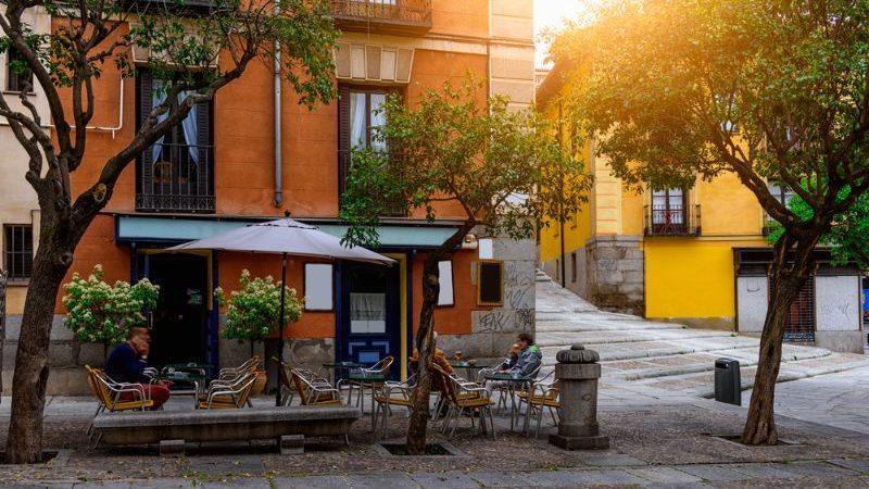 Old cozy street in Madrid, Spain