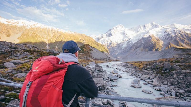 Trekker on Hooker Valley Track