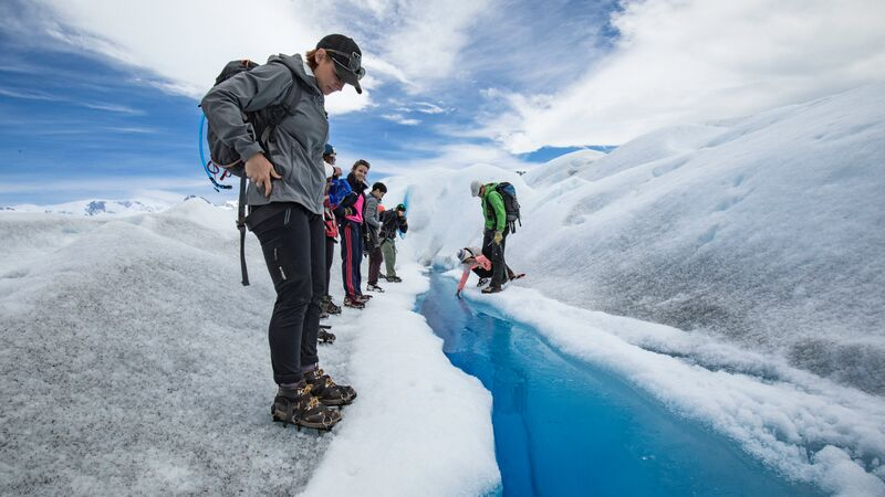 A woman on a glacier in Argentina