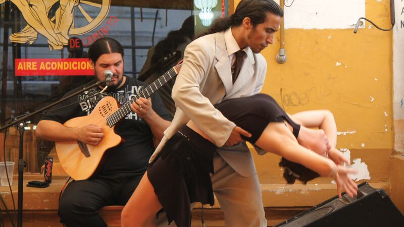 A couple dancing the tango in Buenos Aires