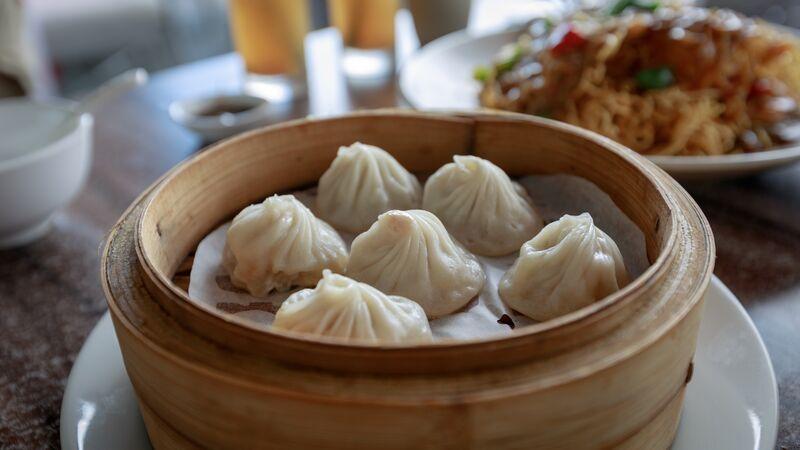 A basket of soup dumplings in China