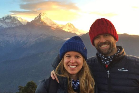 A couple wearing beanies in Nepal