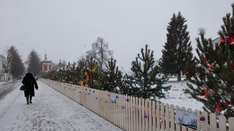 Christmas trees in the streets of Suzdal.