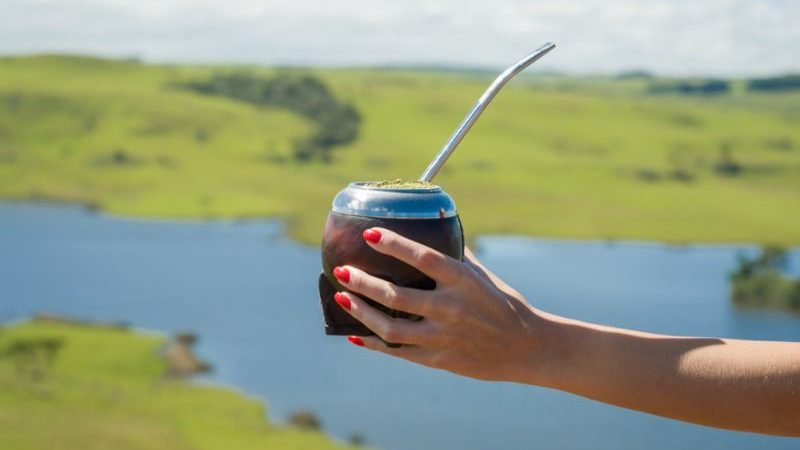 A woman holding a yerba mate