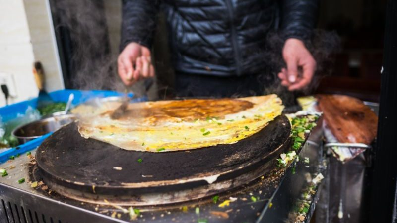 Jianbing, a Chinese rolled crepe