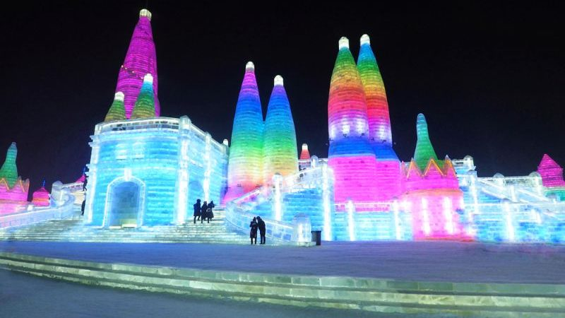 Illuminated ice buildings in China.