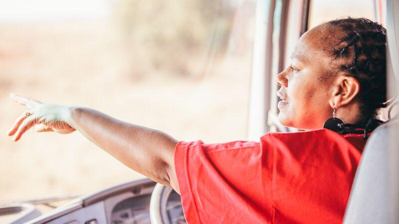 A female truck driver in Kenya