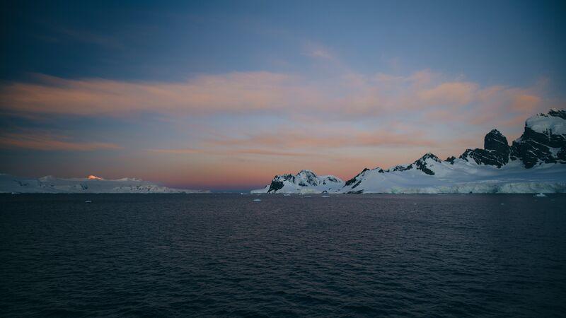 Landscape in Antarctica at dusk