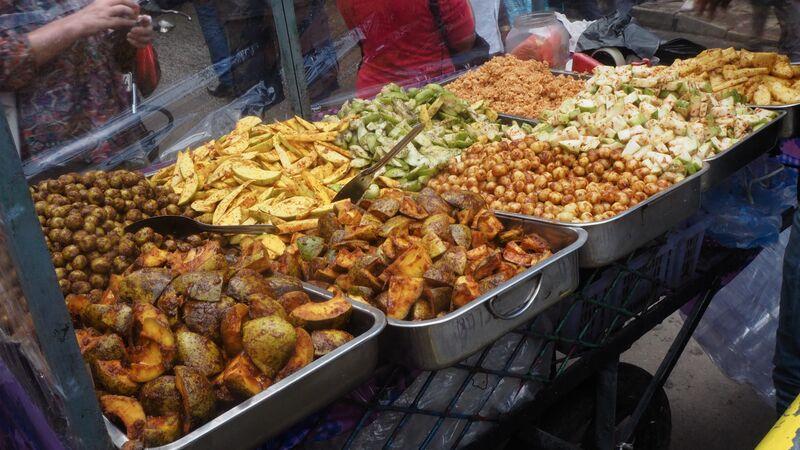 Trays of street food in Sri Lanka