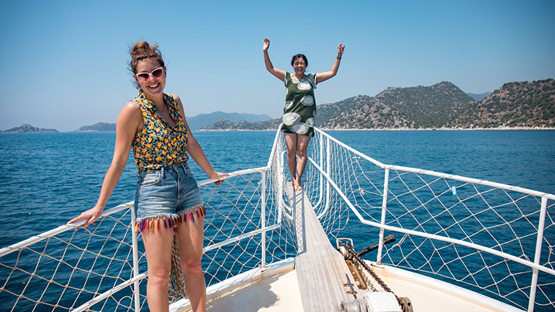 Two women on a boat in Turkey