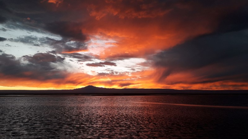 Fiery sunset at the Chilean Salt Flats