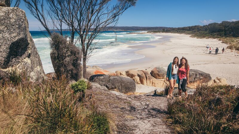 Travellers at the Bay of Fires