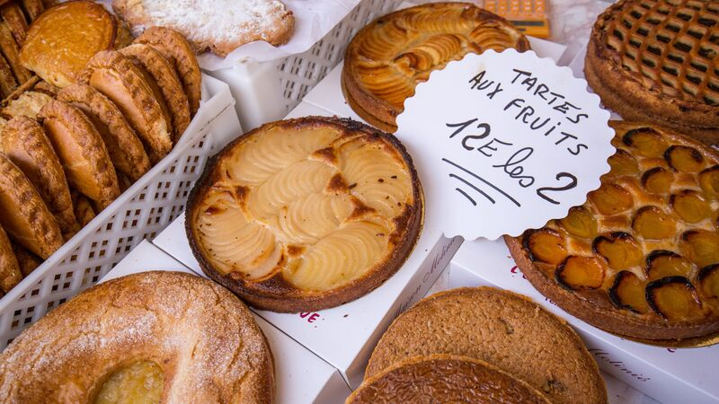 French pastries and cakes at a market