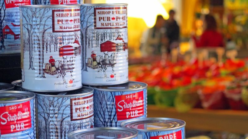 Cans of maple syrup in Canada