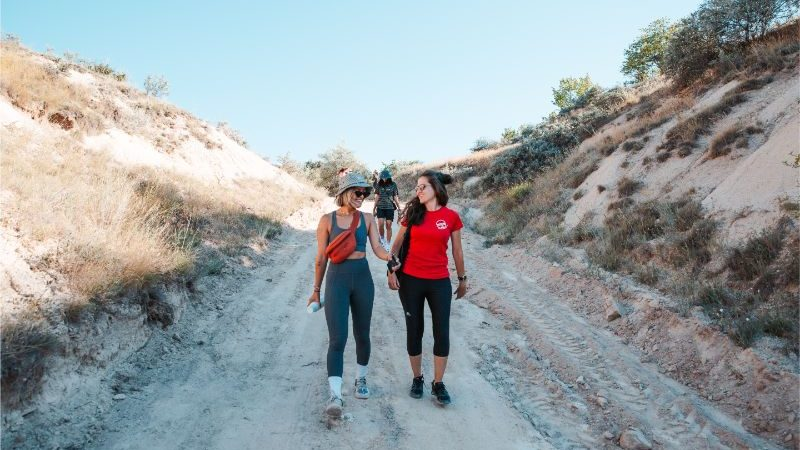 Two young women hiking in Turkey