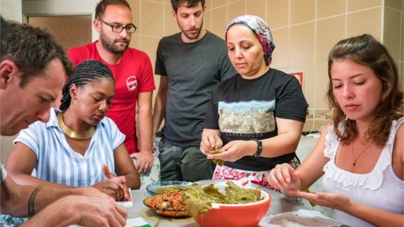 A group of travellers at a cooking class in Cappadocia