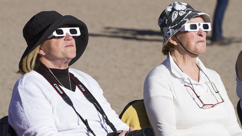 Observers enjoy uninterrupted views of the eclipse