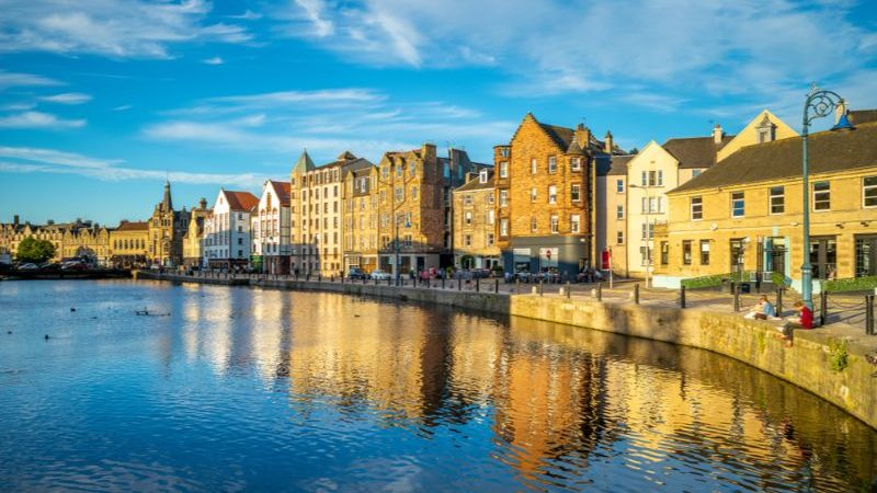 Leith waterfront at sunset