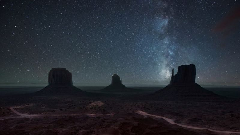 Night sky above Monument Valley