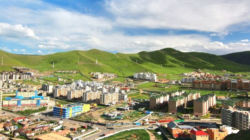 Ulaanbaatar with green hills in the background