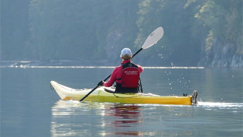 A person kayaking in Canada