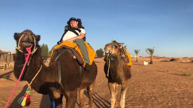A man on a camel in Morocco