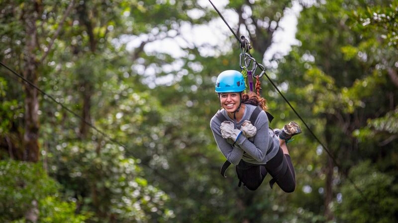 Girl zip lining in Costa Rica
