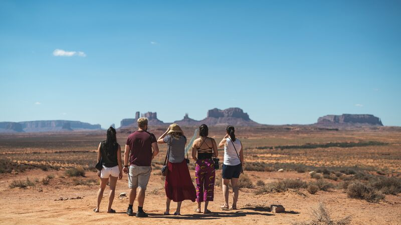 Travellers at Monument Valley