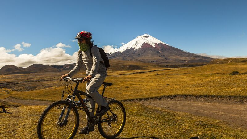 Man cycling in Cotopaxi