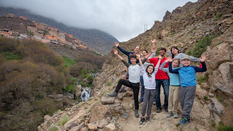 A family and their tour leader in Morocco