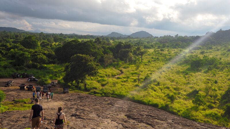 Travellers standing on a rock overlooking a beautiful national park in Sri Lanka