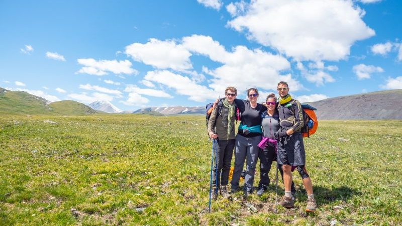 A small group of hikers in Mongolia